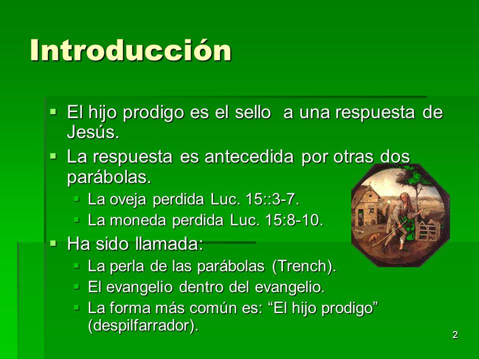 Introducción El hijo prodigo es el sello a una respuesta de Jesús.