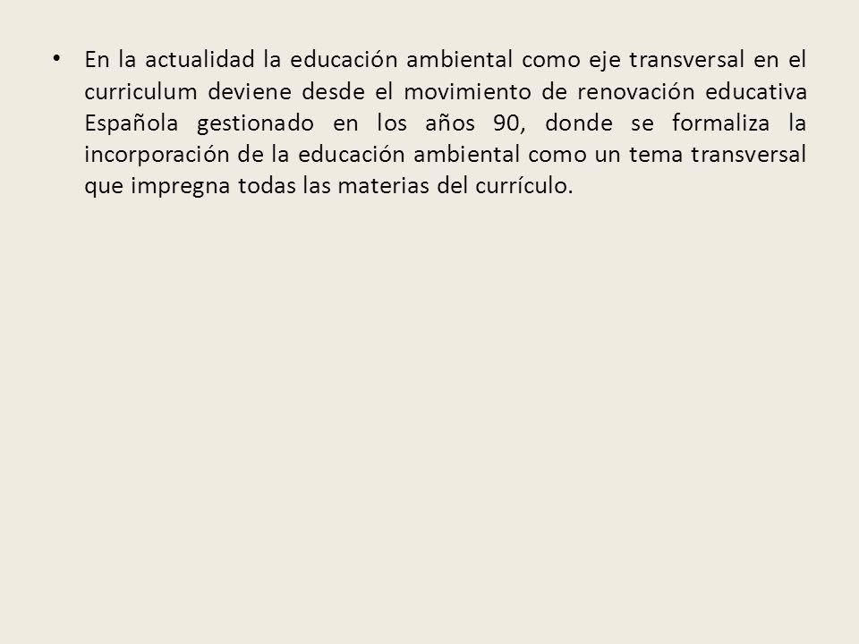 En la actualidad la educación ambiental como eje transversal en el curriculum deviene desde el movimiento de renovación educativa Española gestionado en los años 90, donde se formaliza la incorporación de la educación ambiental como un tema transversal que impregna todas las materias del currículo.