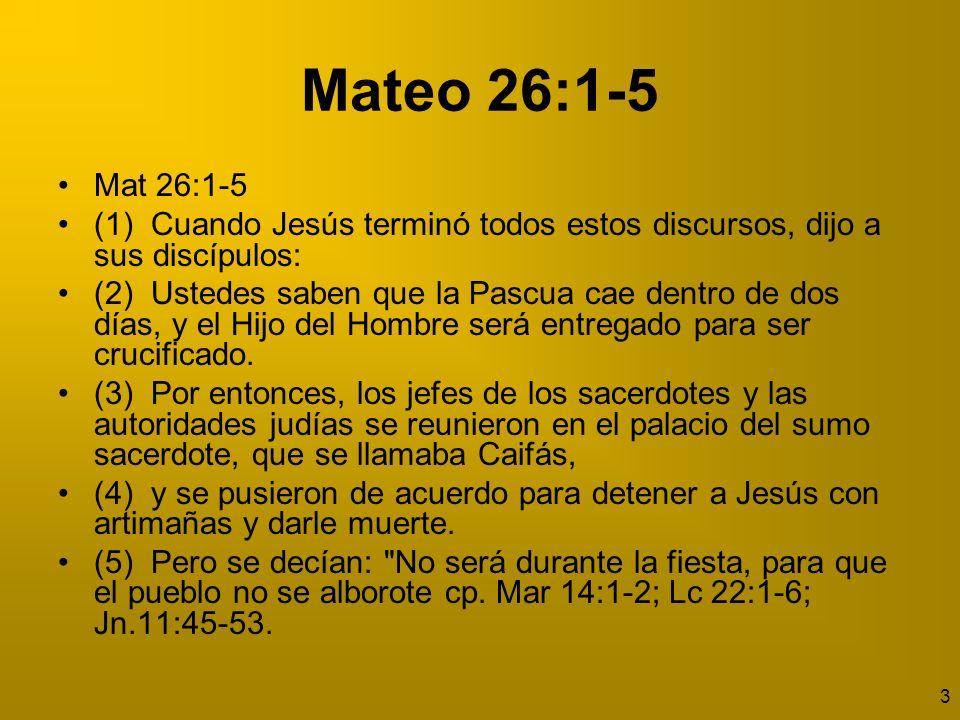 Mateo 26:1-5 Mat 26:1-5. (1) Cuando Jesús terminó todos estos discursos, dijo a sus discípulos: