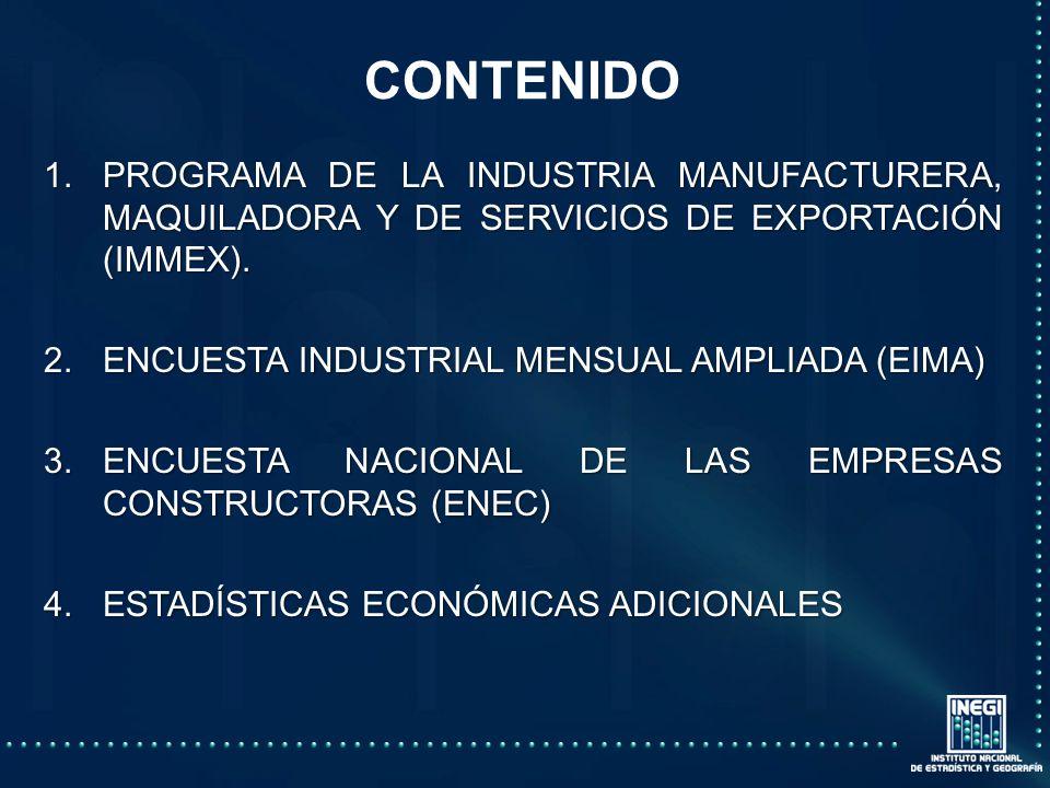 CONTENIDO PROGRAMA DE LA INDUSTRIA MANUFACTURERA, MAQUILADORA Y DE SERVICIOS DE EXPORTACIÓN (IMMEX).
