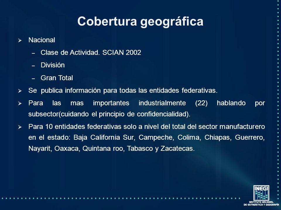 Cobertura geográfica Nacional Clase de Actividad. SCIAN 2002 División