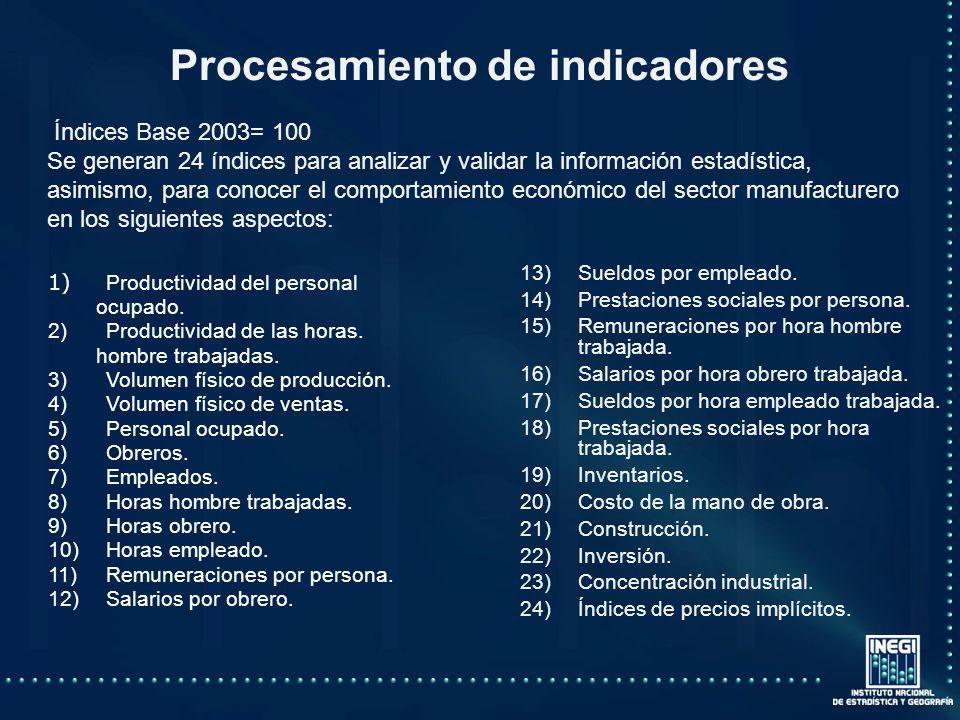 Procesamiento de indicadores