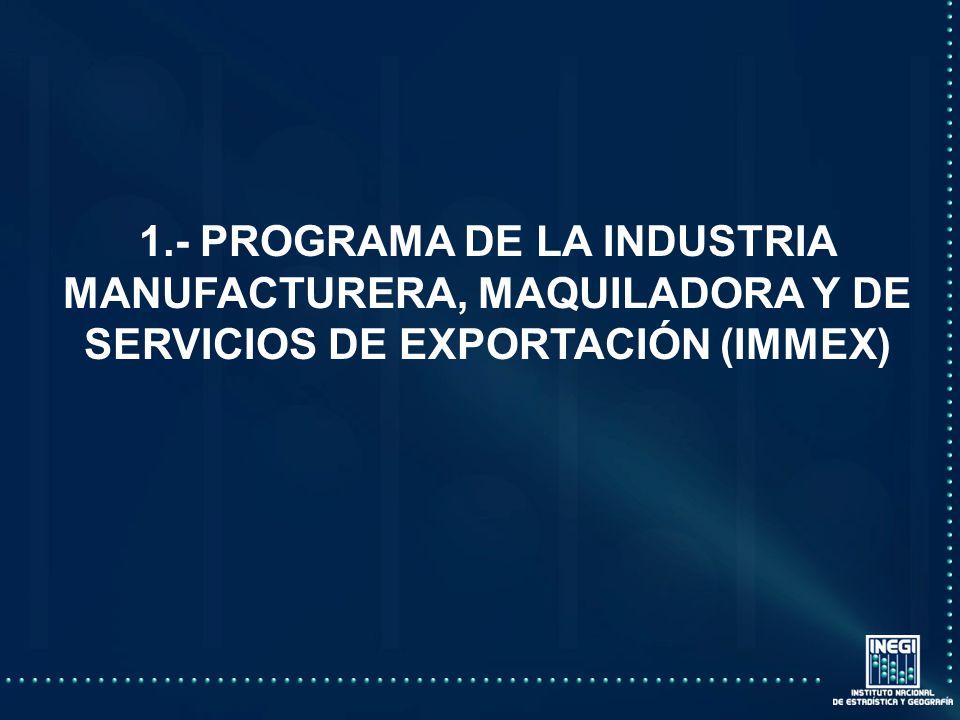 1.- PROGRAMA DE LA INDUSTRIA MANUFACTURERA, MAQUILADORA Y DE SERVICIOS DE EXPORTACIÓN (IMMEX)