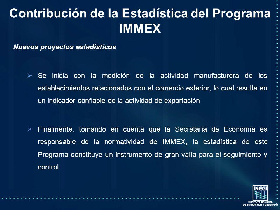 Contribución de la Estadística del Programa IMMEX