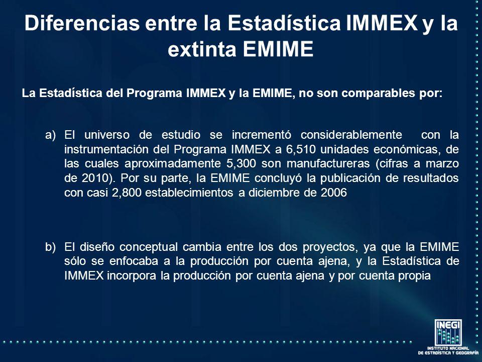 Diferencias entre la Estadística IMMEX y la extinta EMIME