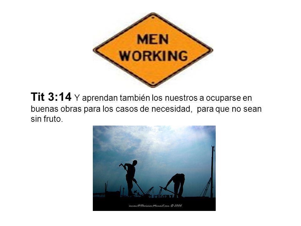 Tit 3:14 Y aprendan también los nuestros a ocuparse en buenas obras para los casos de necesidad, para que no sean sin fruto.