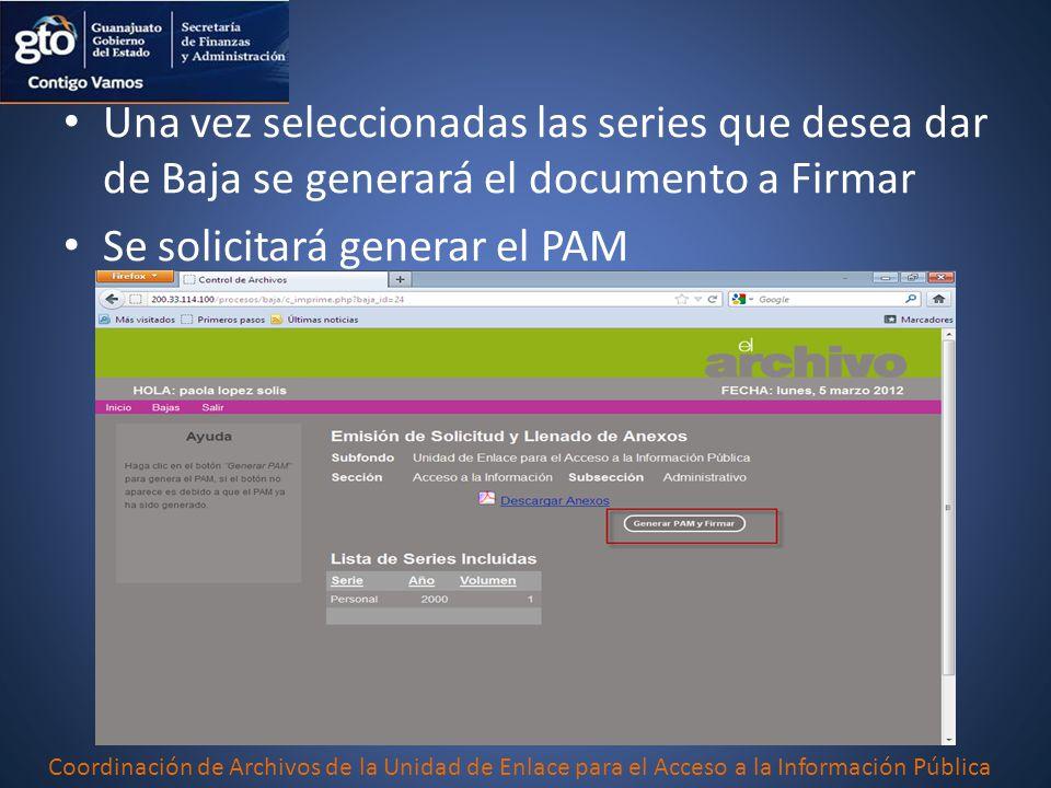 Se solicitará generar el PAM