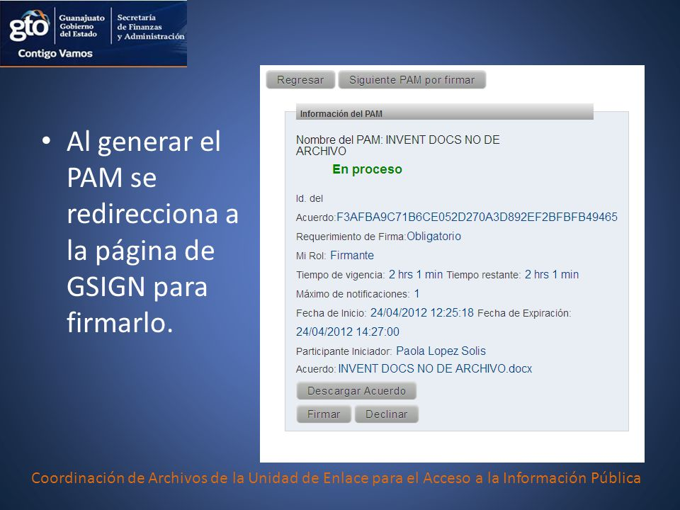 Al generar el PAM se redirecciona a la página de GSIGN para firmarlo.