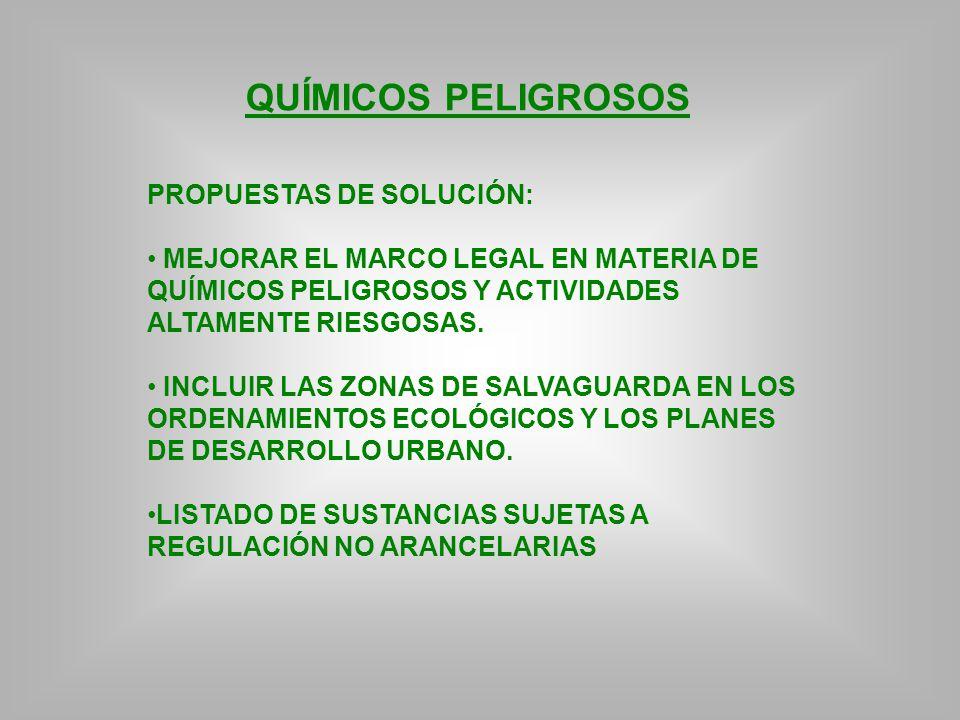 QUÍMICOS PELIGROSOS PROPUESTAS DE SOLUCIÓN: