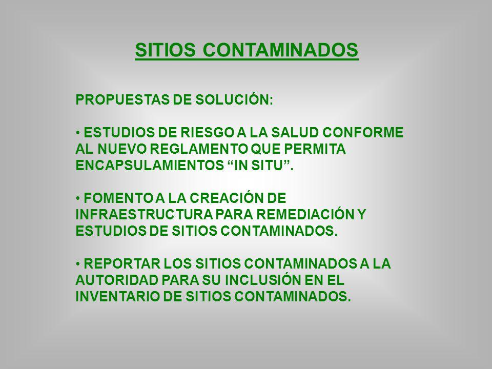 SITIOS CONTAMINADOS PROPUESTAS DE SOLUCIÓN: