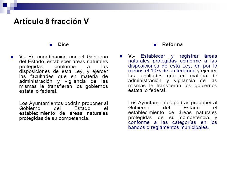 Artículo 8 fracción V Dice
