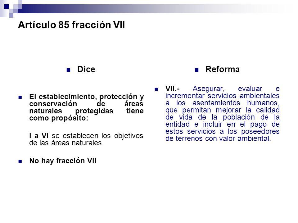 Artículo 85 fracción VII Dice Reforma