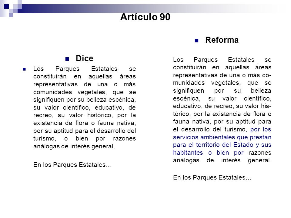 Artículo 90 Reforma.
