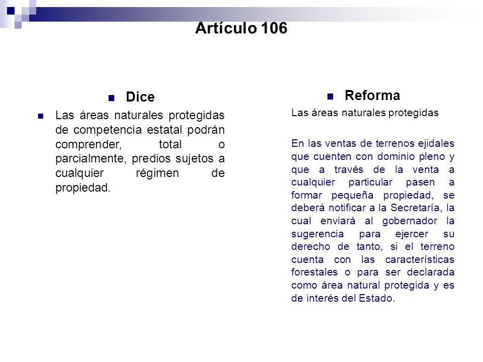Artículo 106 Dice.