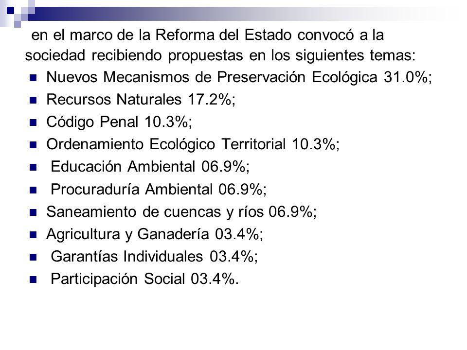 en el marco de la Reforma del Estado convocó a la sociedad recibiendo propuestas en los siguientes temas: