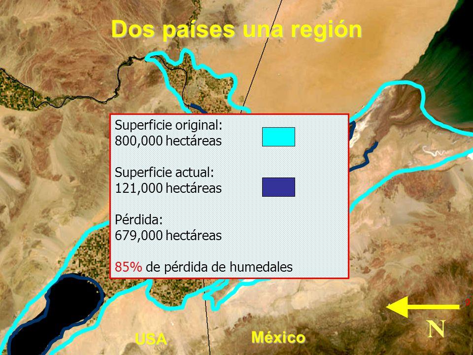 Dos países una región N México USA Superficie original:
