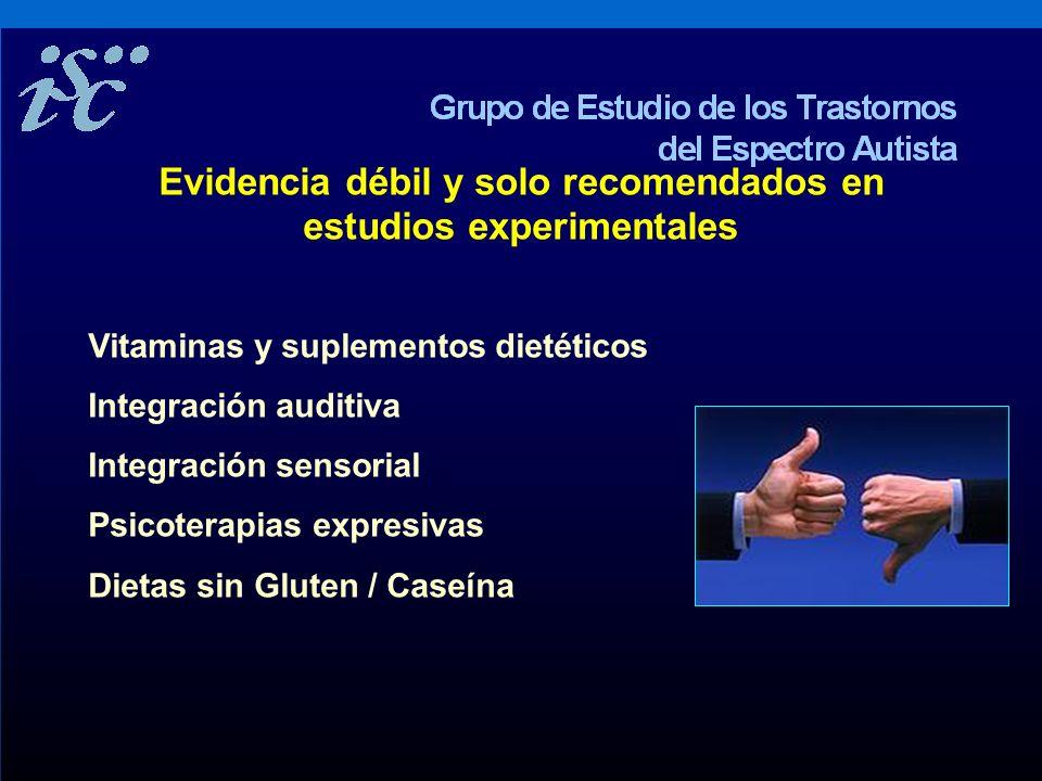 Evidencia débil y solo recomendados en estudios experimentales