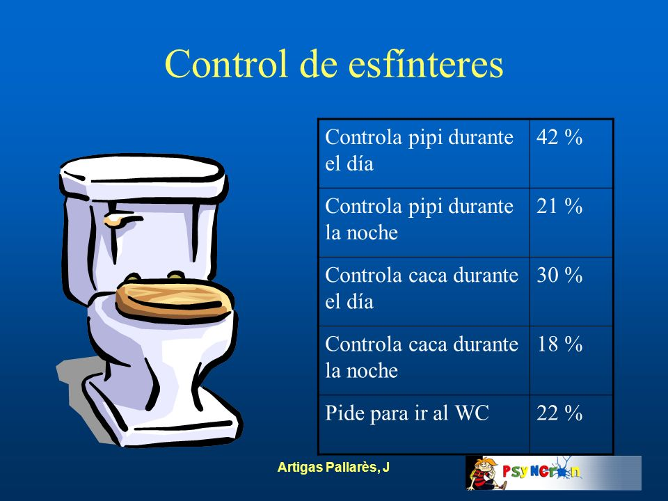 Control de esfínteres Controla pipi durante el día 42 %