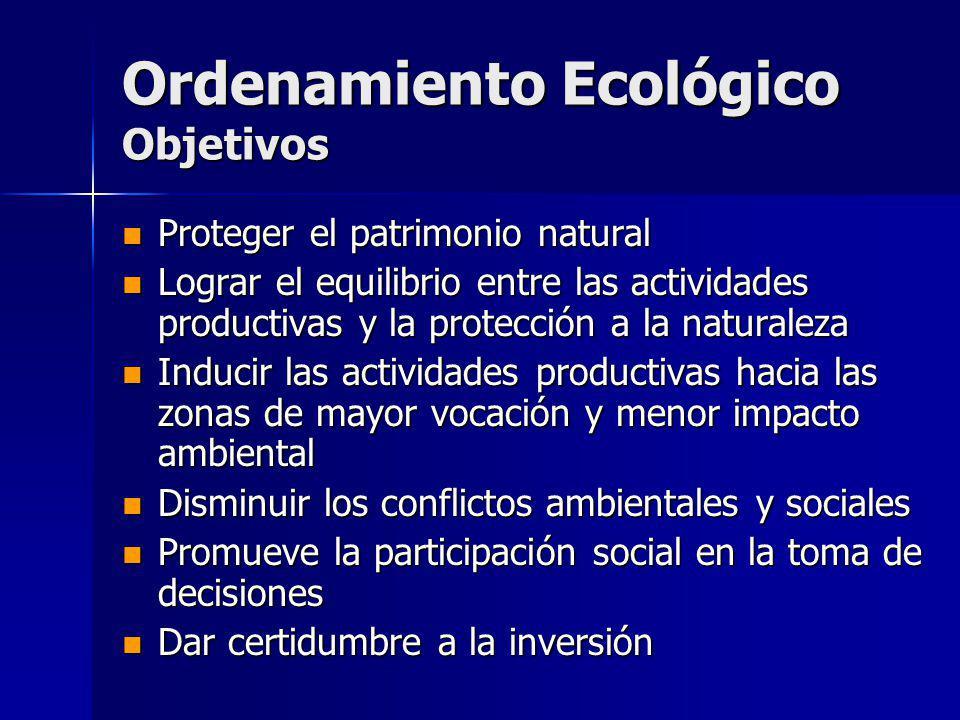 Ordenamiento Ecológico Objetivos