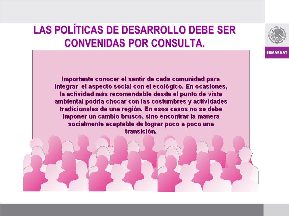 LAS POLÍTICAS DE DESARROLLO DEBE SER CONVENIDAS POR CONSULTA.