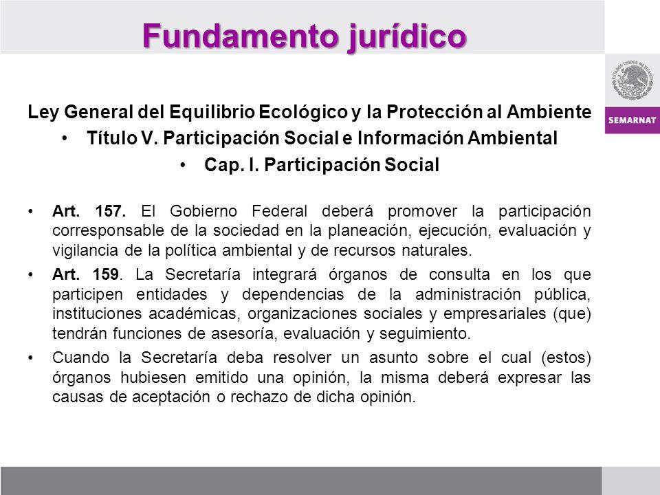 Fundamento jurídico Ley General del Equilibrio Ecológico y la Protección al Ambiente. Título V. Participación Social e Información Ambiental.