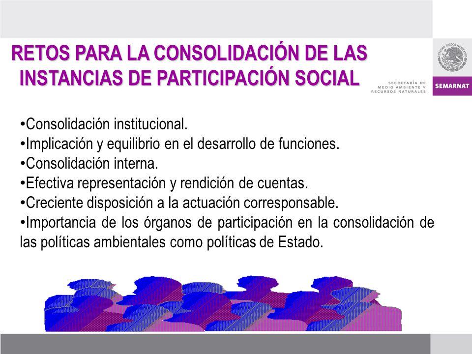 RETOS PARA LA CONSOLIDACIÓN DE LAS INSTANCIAS DE PARTICIPACIÓN SOCIAL