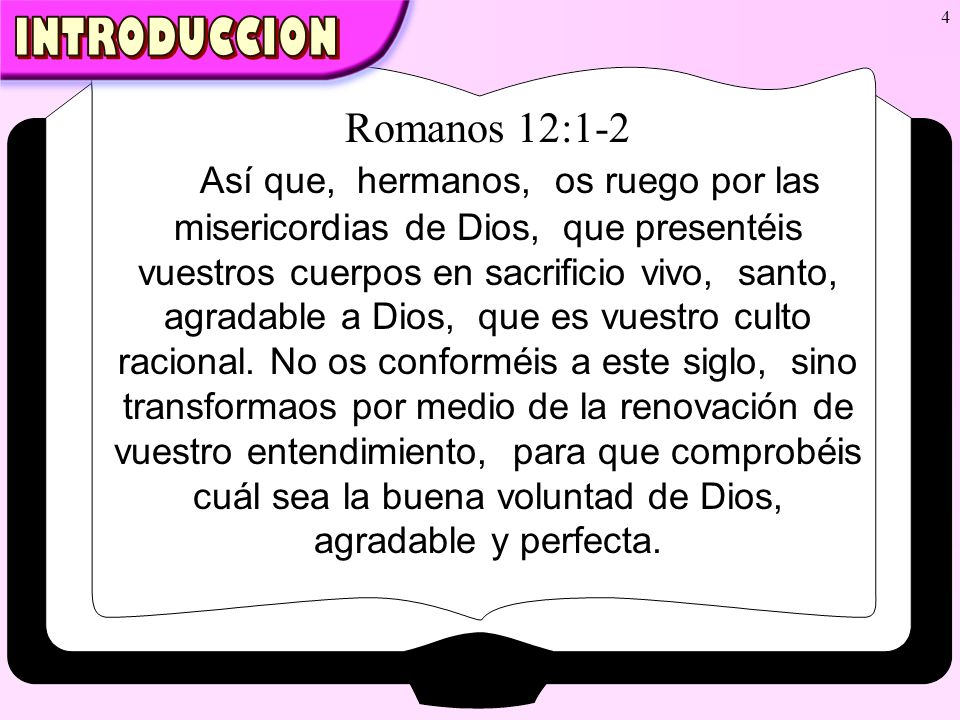 INTRODUCCION Romanos 12:1-2