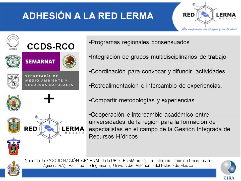 + ADHESIÓN A LA RED LERMA Programas regionales consensuados.
