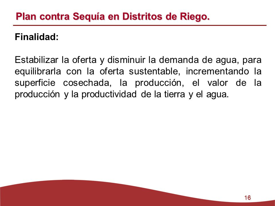 Plan contra Sequía en Distritos de Riego.