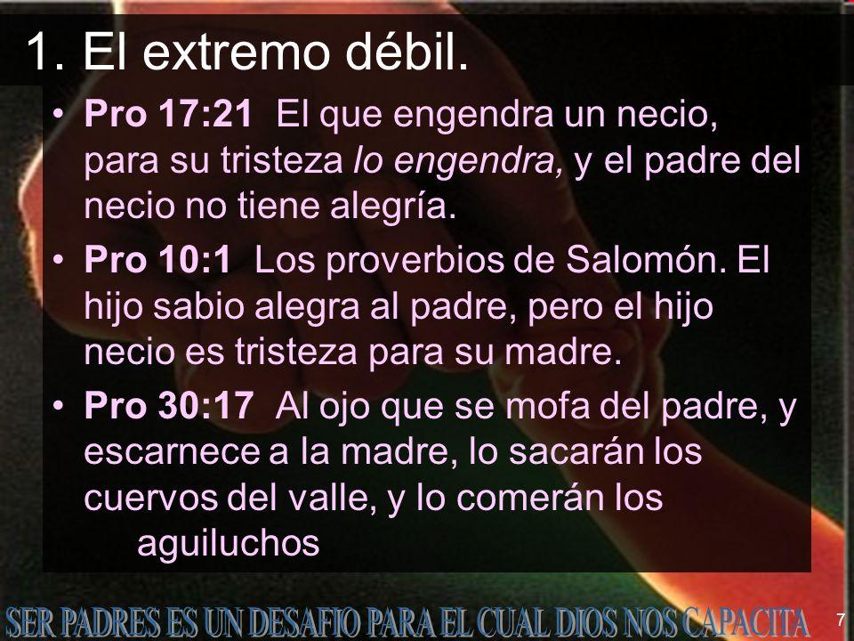 1. El extremo débil. Pro 17:21 El que engendra un necio, para su tristeza lo engendra, y el padre del necio no tiene alegría.