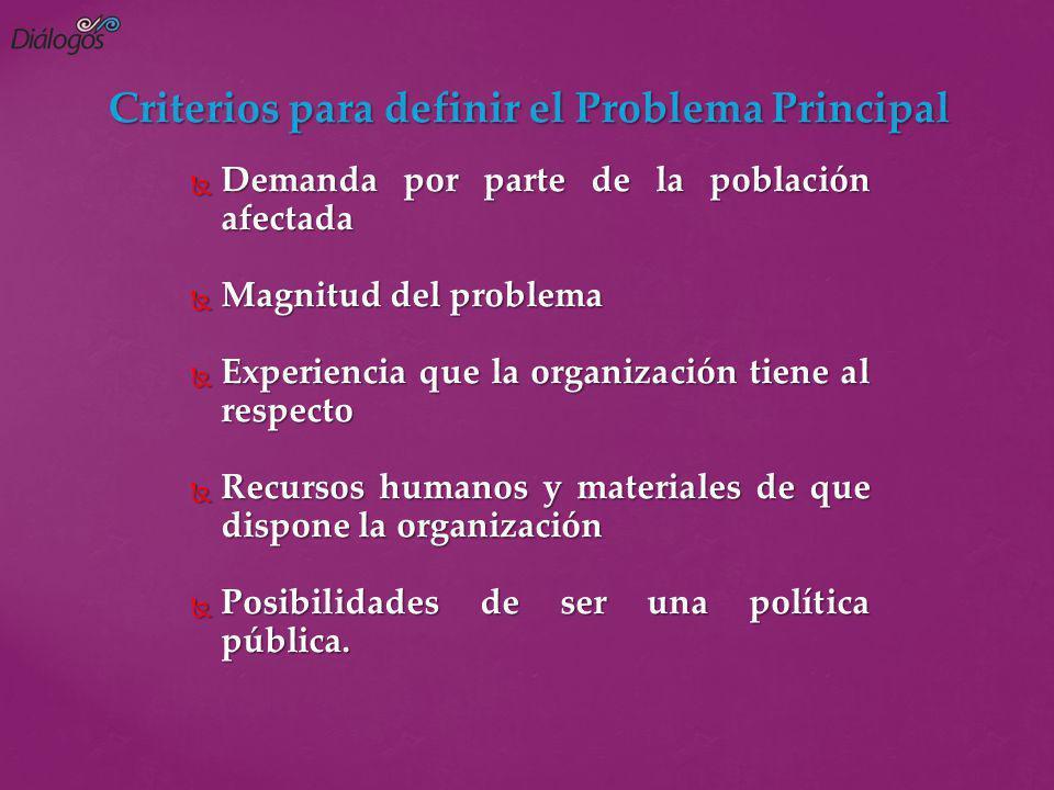 Criterios para definir el Problema Principal