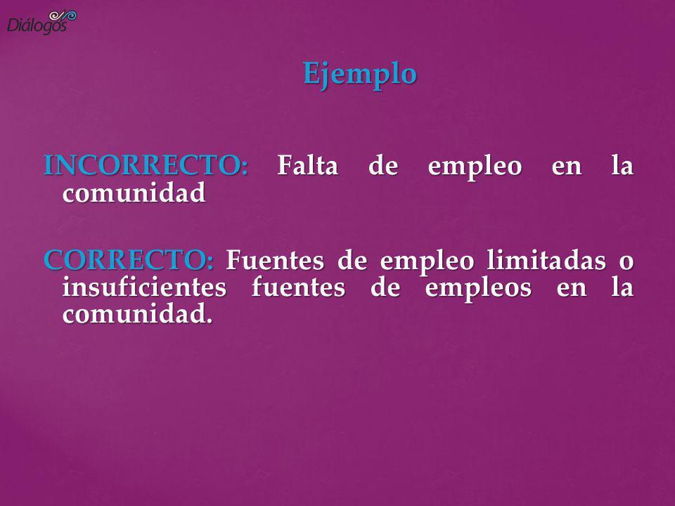 Ejemplo INCORRECTO: Falta de empleo en la comunidad CORRECTO: Fuentes de empleo limitadas o insuficientes fuentes de empleos en la comunidad.