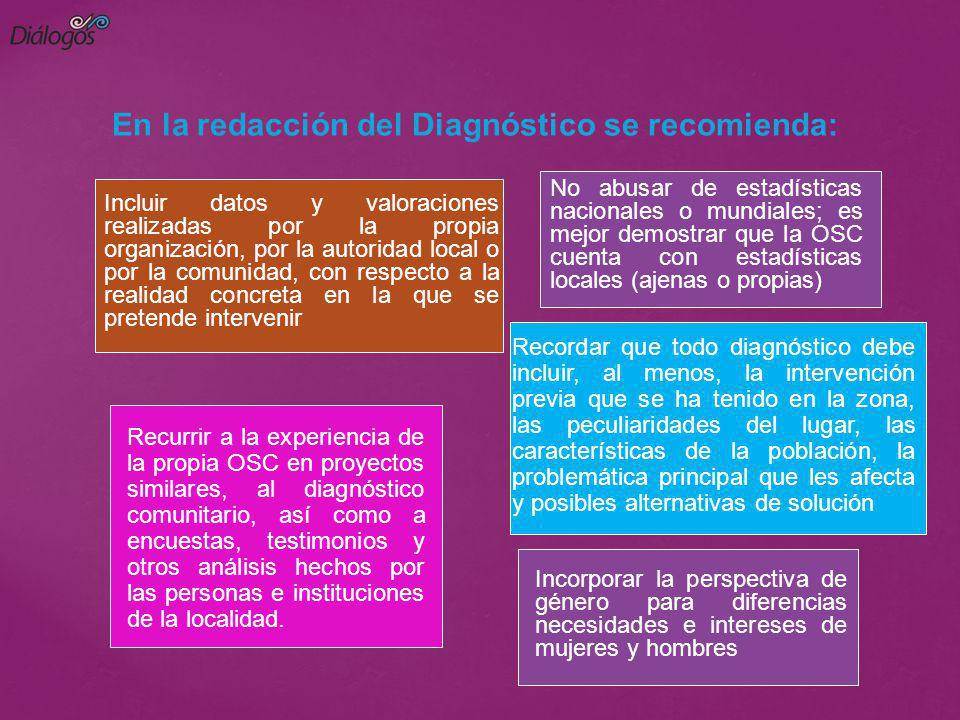 En la redacción del Diagnóstico se recomienda: