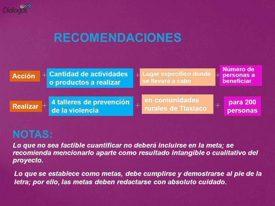 RECOMENDACIONES NOTAS: Cantidad de actividades o productos a realizar