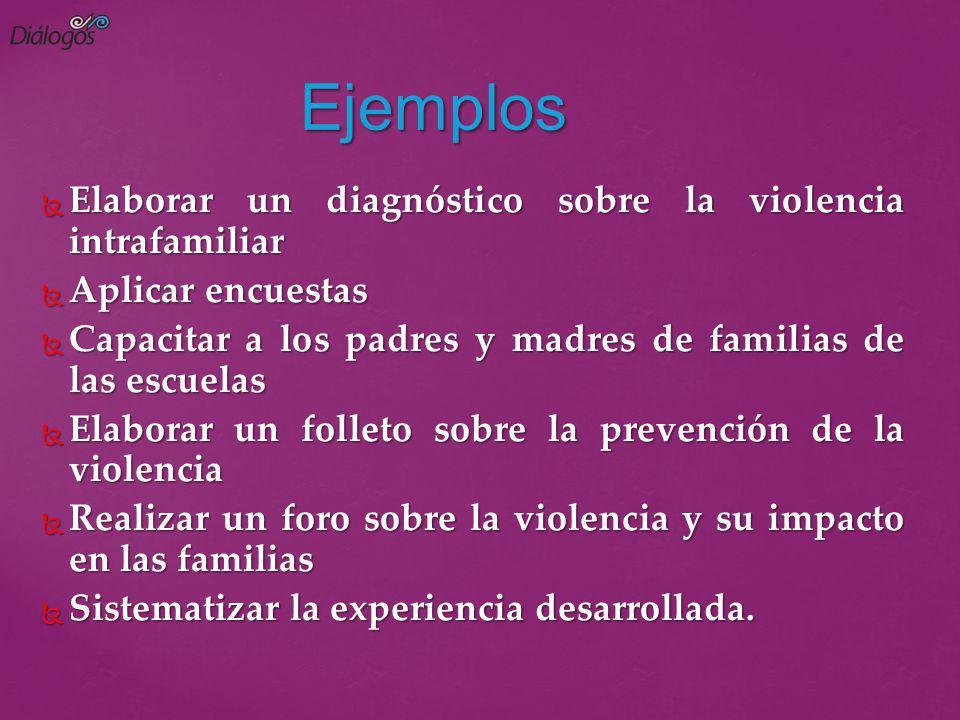 Ejemplos Elaborar un diagnóstico sobre la violencia intrafamiliar