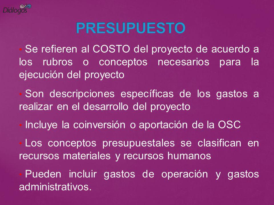 PRESUPUESTO Se refieren al COSTO del proyecto de acuerdo a los rubros o conceptos necesarios para la ejecución del proyecto.