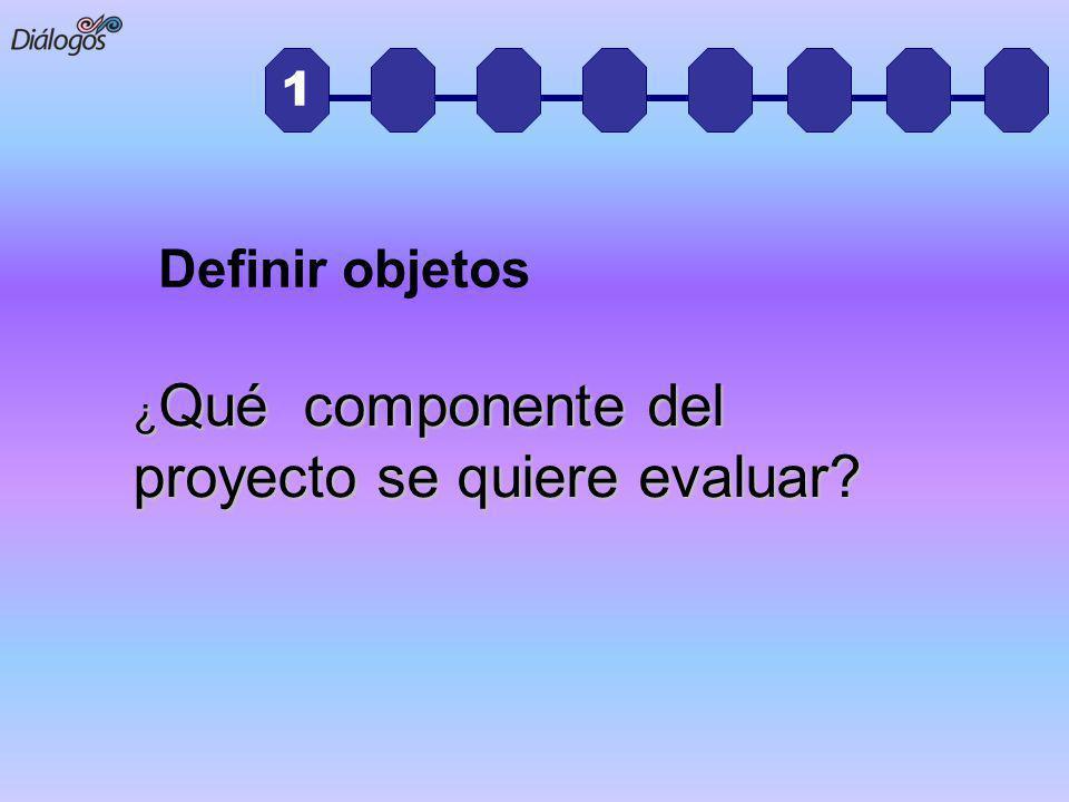 Definir objetos 1 ¿Qué componente del proyecto se quiere evaluar
