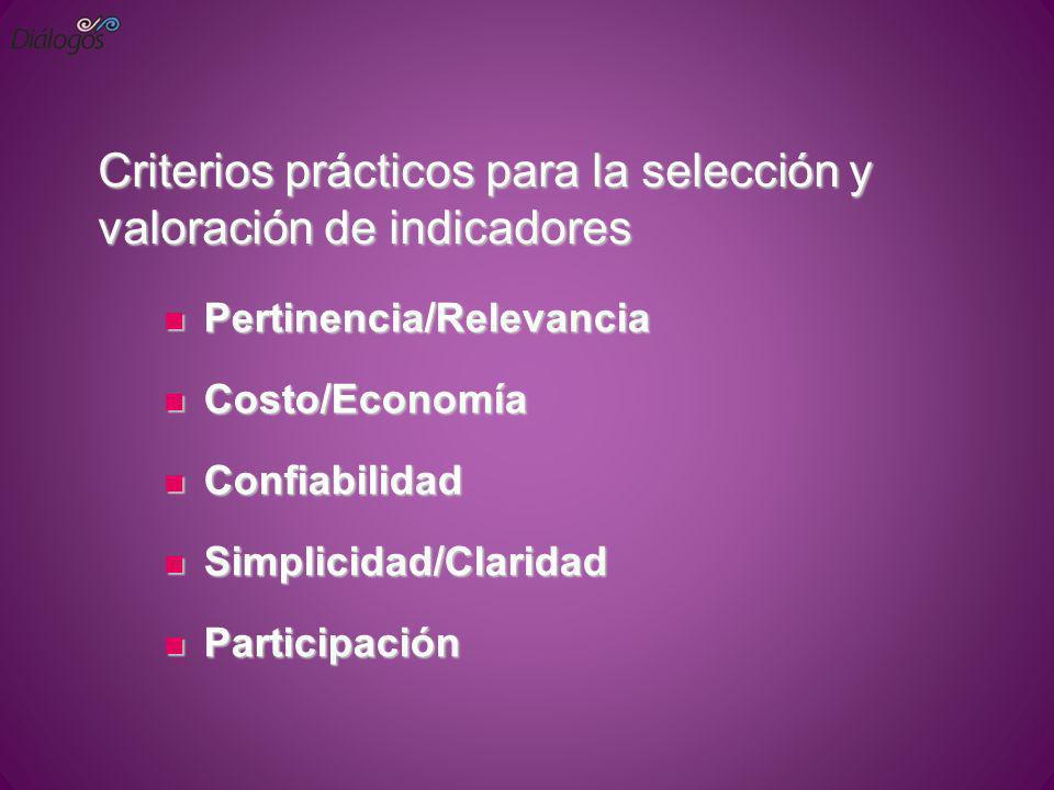Criterios prácticos para la selección y valoración de indicadores