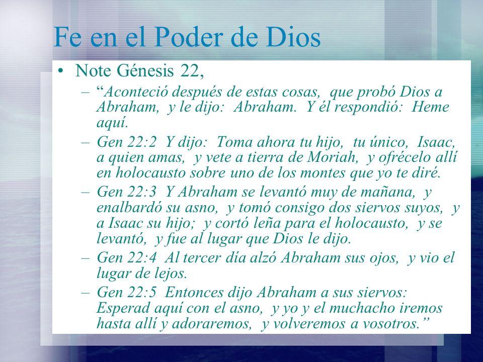 Fe en el Poder de Dios Note Génesis 22,