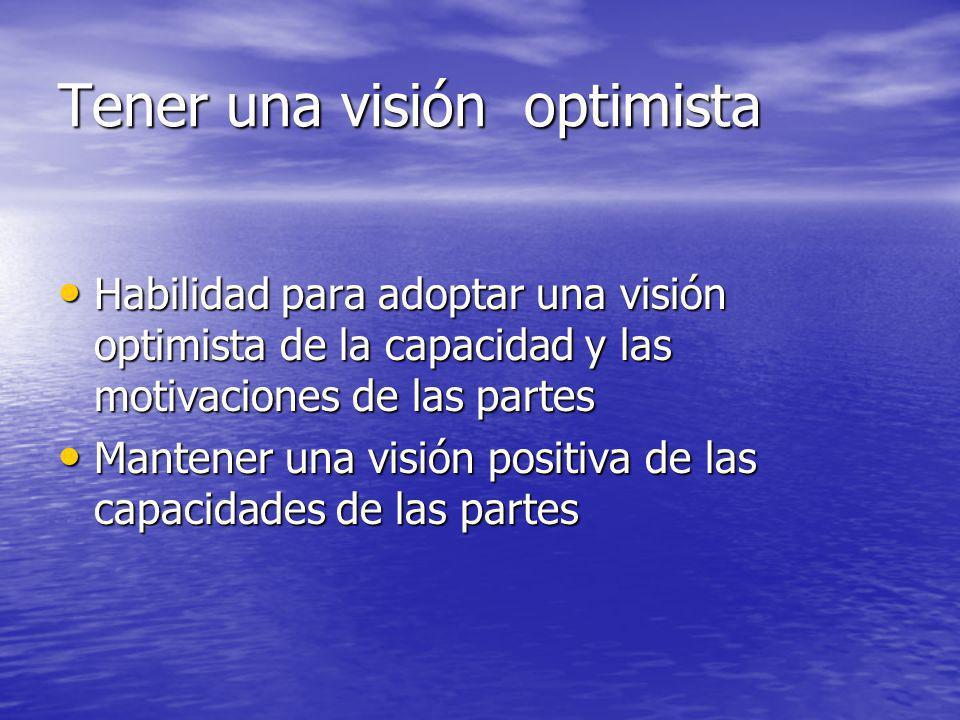 Tener una visión optimista
