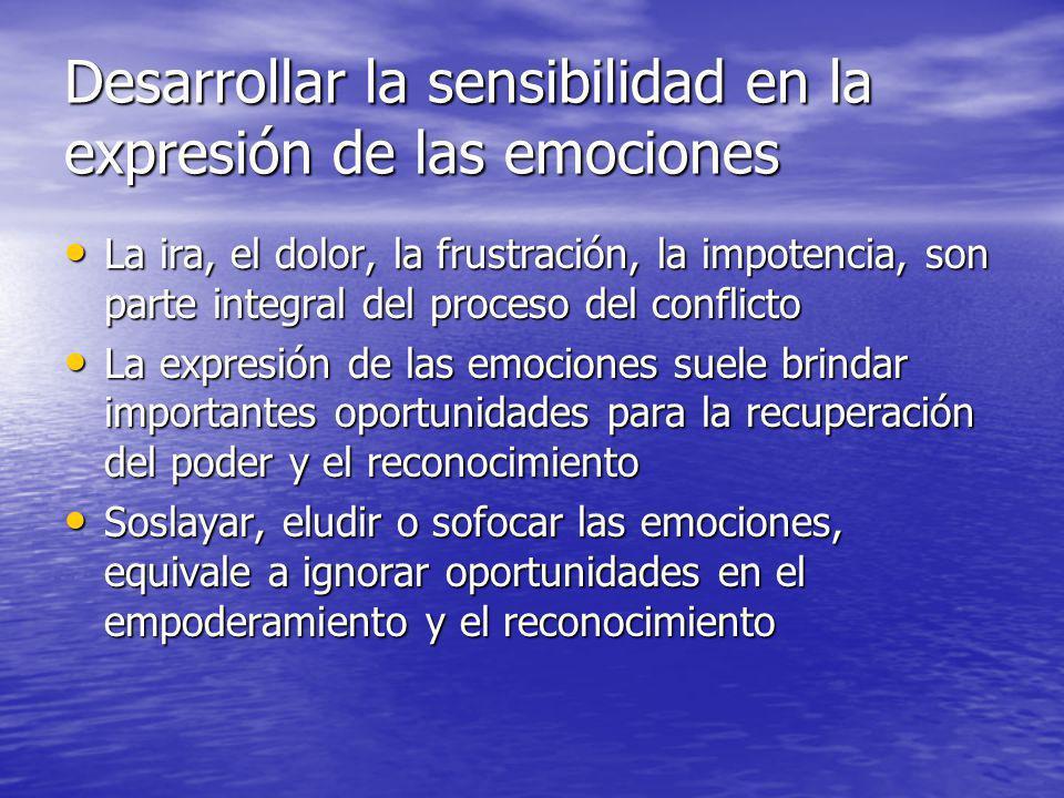 Desarrollar la sensibilidad en la expresión de las emociones