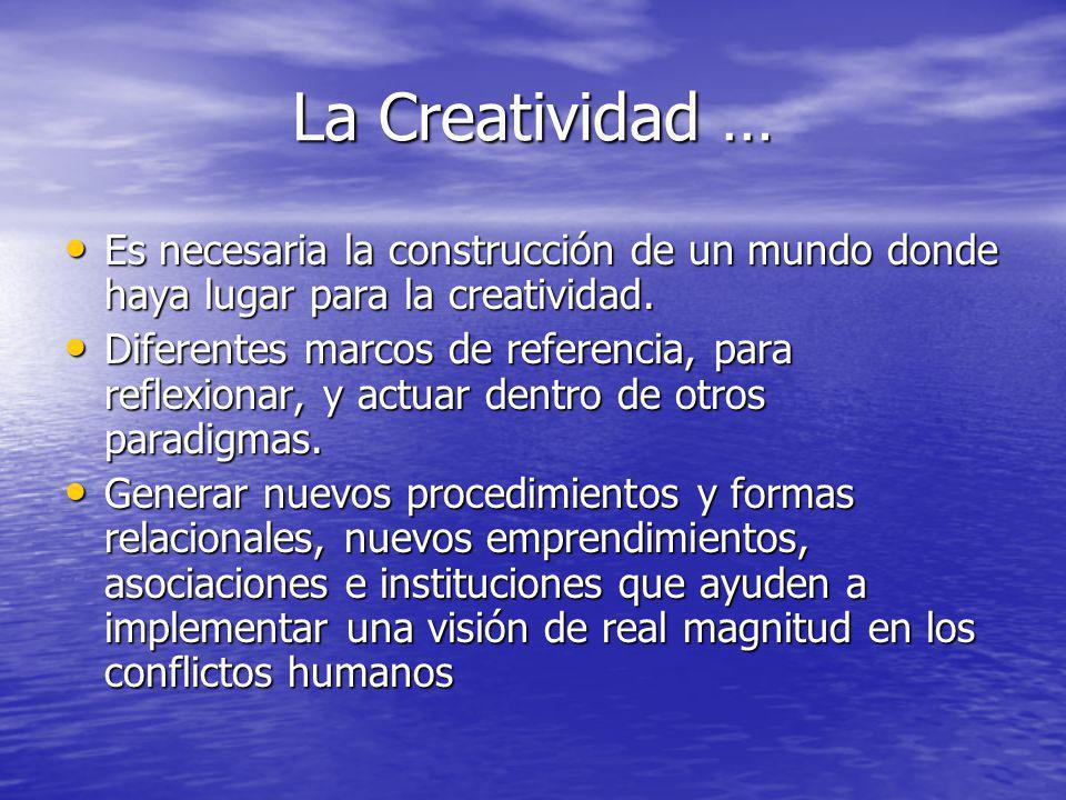 La Creatividad … Es necesaria la construcción de un mundo donde haya lugar para la creatividad.