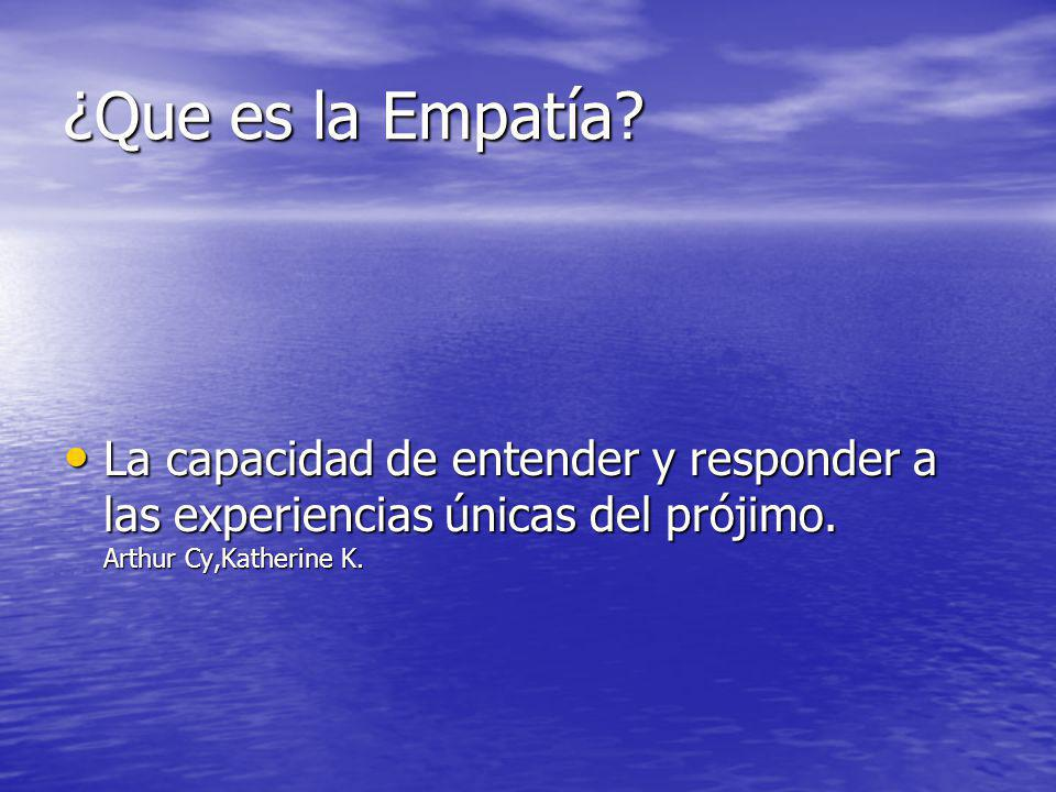 ¿Que es la Empatía. La capacidad de entender y responder a las experiencias únicas del prójimo.