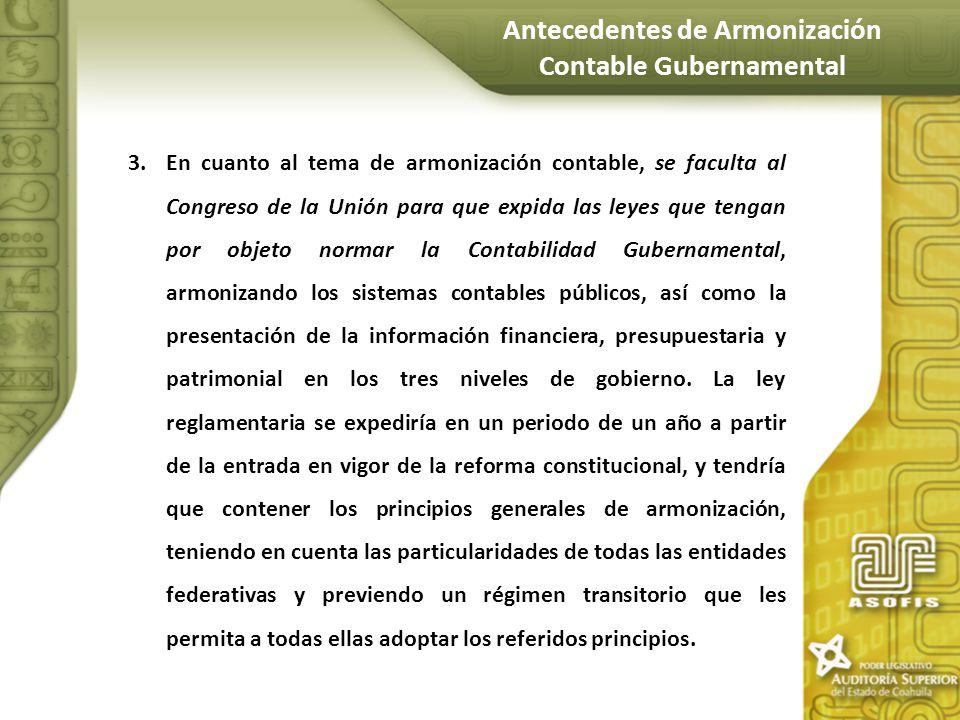Antecedentes de Armonización Contable Gubernamental