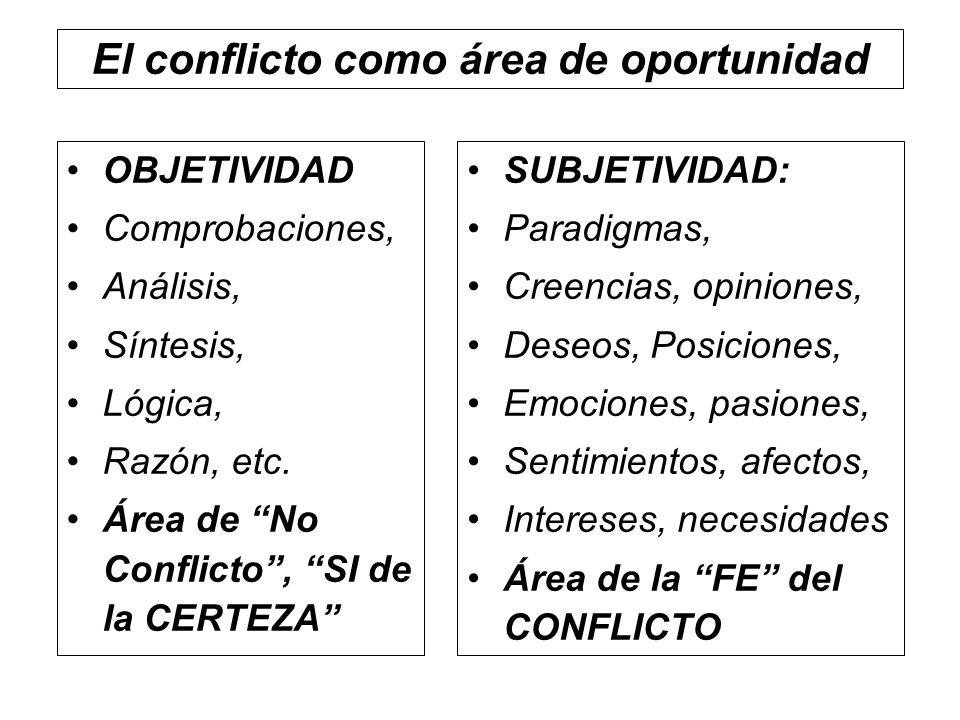 El conflicto como área de oportunidad