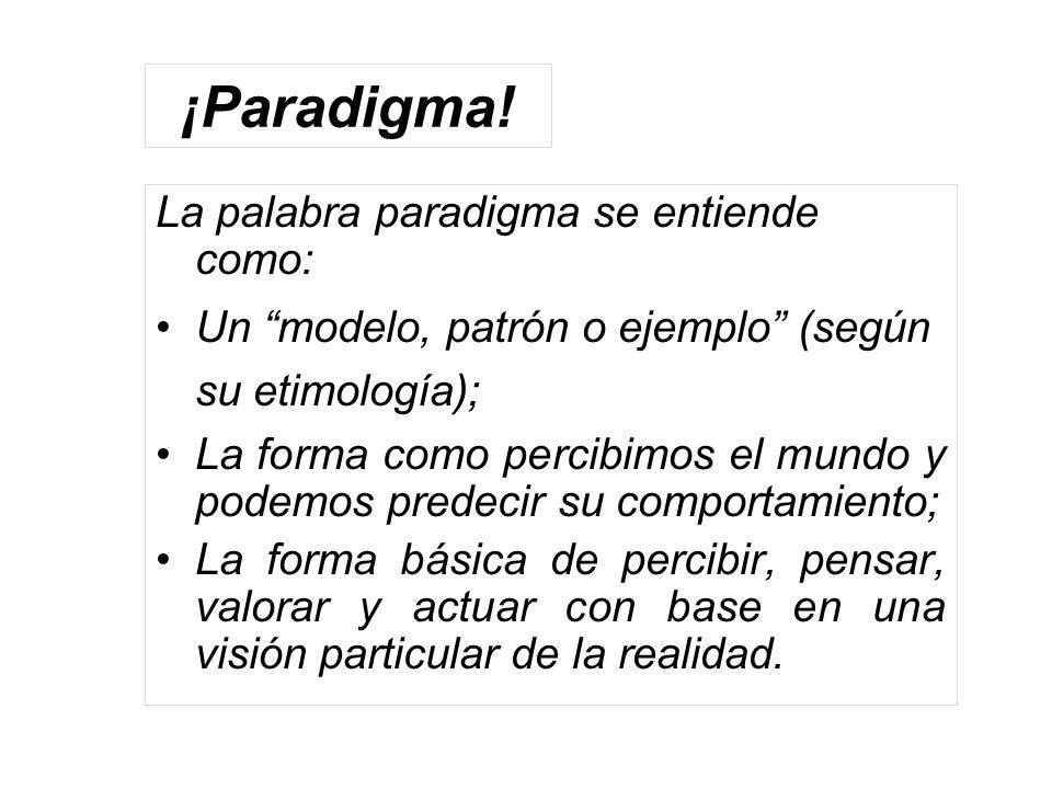 ¡Paradigma! La palabra paradigma se entiende como: