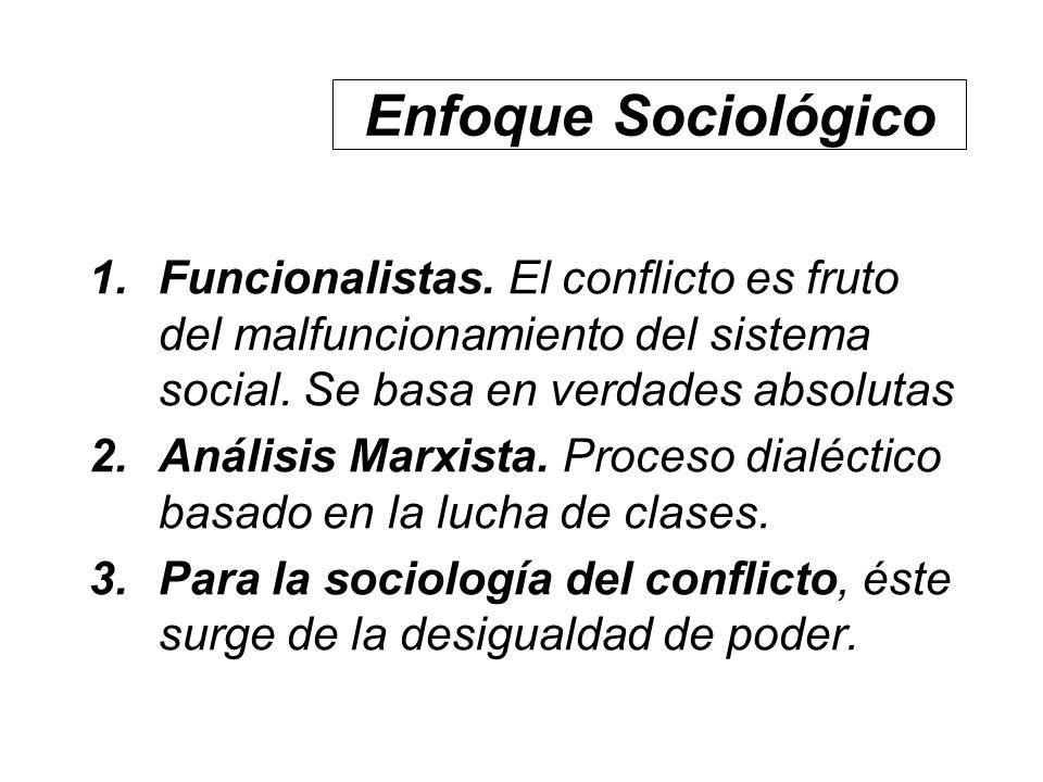 Enfoque Sociológico Funcionalistas. El conflicto es fruto del malfuncionamiento del sistema social. Se basa en verdades absolutas.