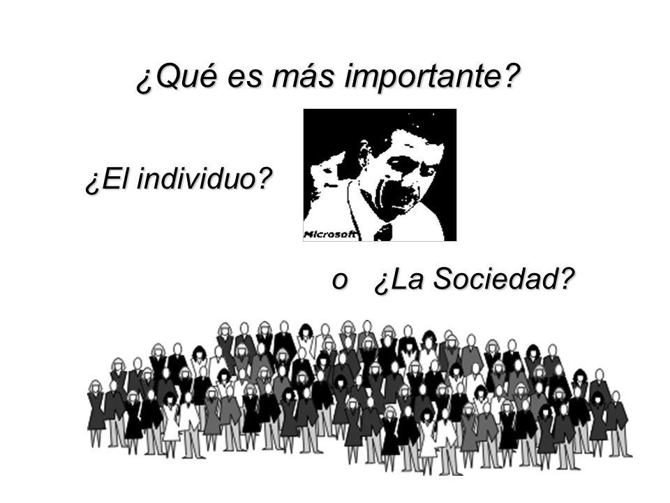 ¿Qué es más importante ¿El individuo o ¿La Sociedad