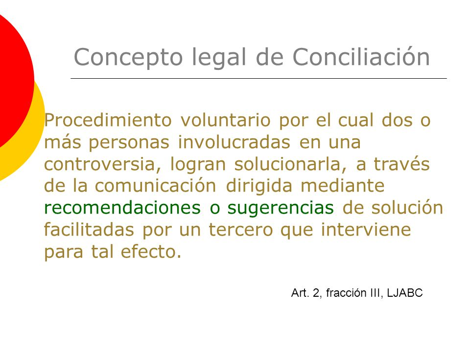Concepto legal de Conciliación