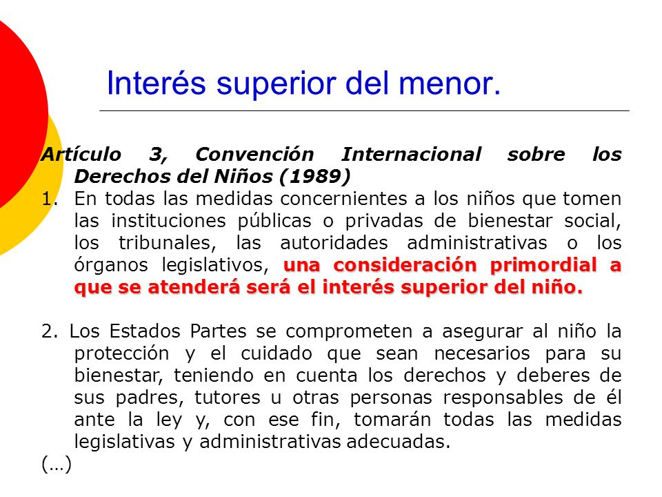 Interés superior del menor.